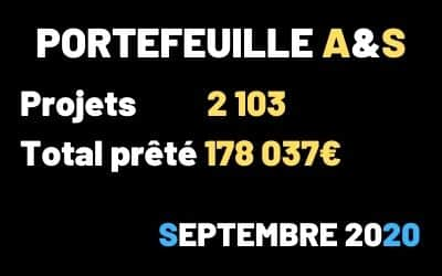 Portefeuille Crowdfunding A&$ – 2103 projets – Septembre 2020