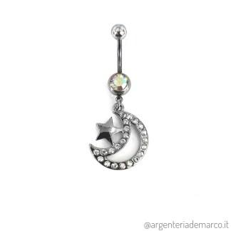 Piercing Ombelico Luna e Stella
