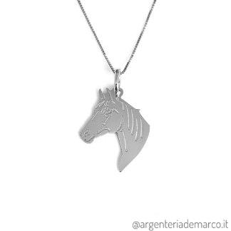 Collana con Ciondolo Cavallo in Argento