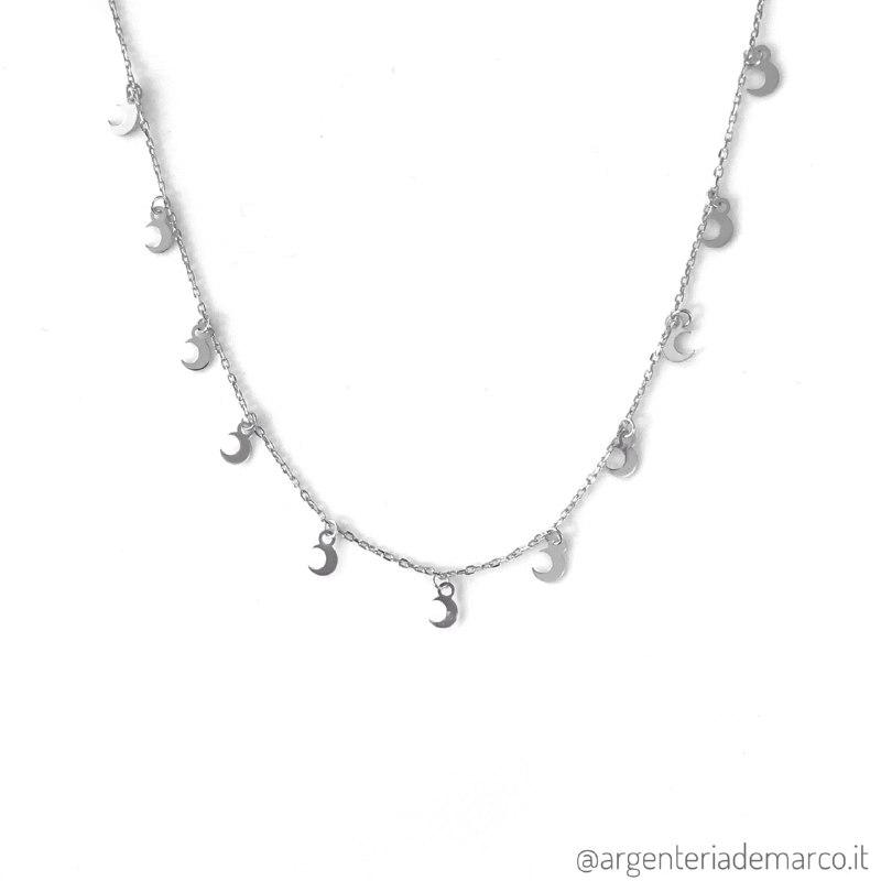 Collana Donna in Argento con Lune