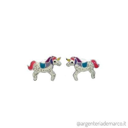 Orecchini Bambina Unicorno in Argento