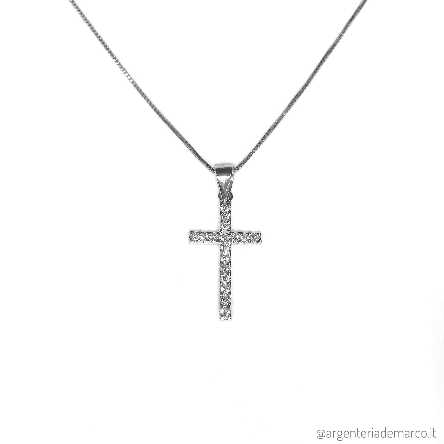Collana Croce in Argento e Zirconi