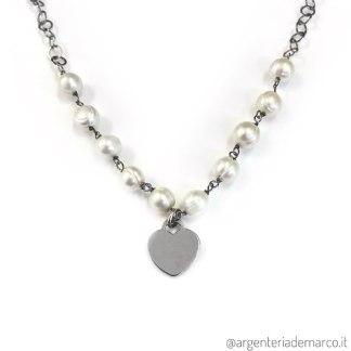 Collana Cuore Perle e Argento