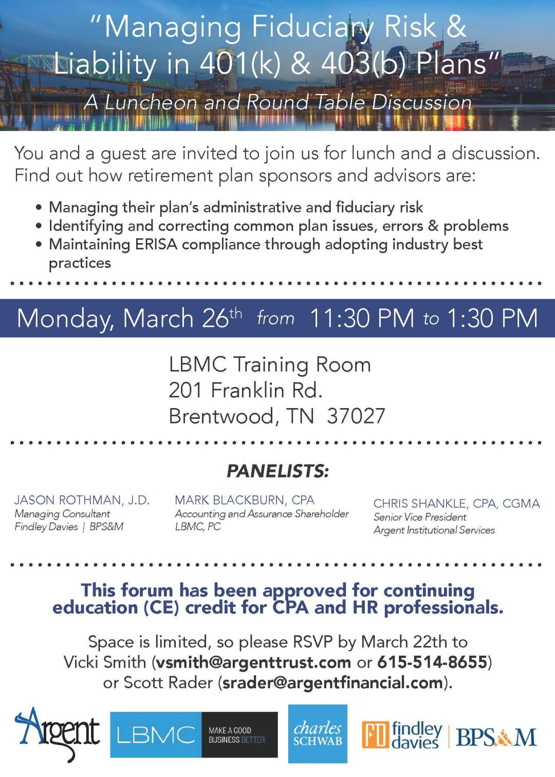 EVENT: Managing Fiduciary Risk & Liability in 401(k) & 403(b) Plans