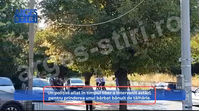 Un polițist aflat în timpul liber a intervenit astăzi, pentru prinderea unui bărbat bănuit de tâlhărie