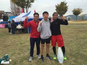 After the race! Laejin finished at 1:44, Yap, at 1:36