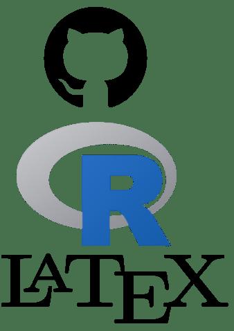 Logos de Github, R y LaTeX