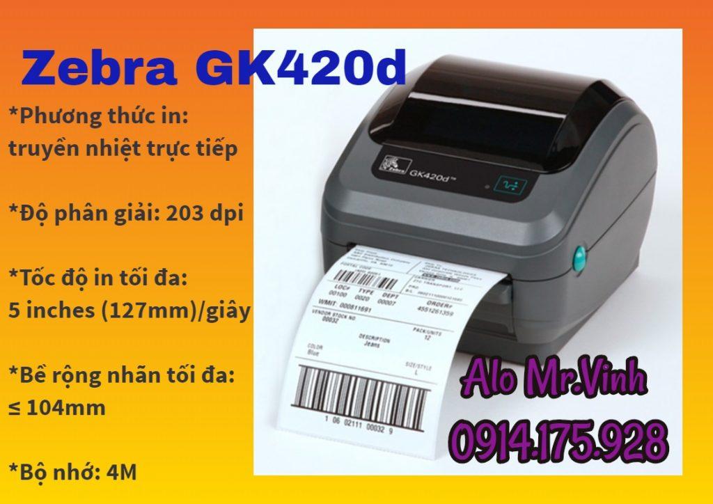 Máy in Zebra GK420d