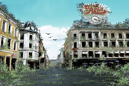 Egertorget apokalypse. Illustrasjon: Evy Litovchenco
