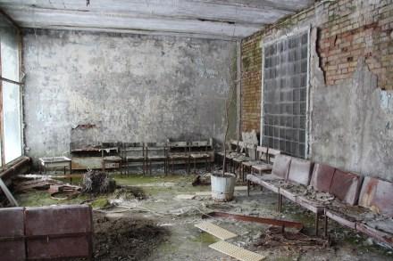 Fotografi frå sjukehuset i Pripjat, Tsjernobyl.