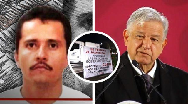 CJNG de El Mencho manda mensaje a AMLO con narcomantas colgadas en pipas