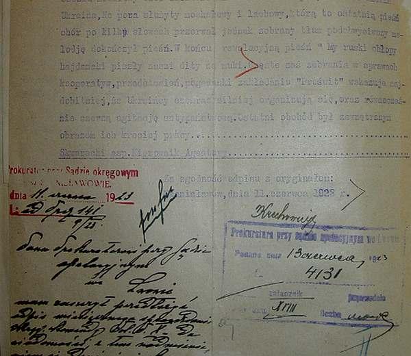 Уривок з спецдоносах конфідента Скварецкого про проведення «релігійно-маніфестірованіе походу» в Станіславі (нині Івано-Франківськ) 23. травня 1923 року