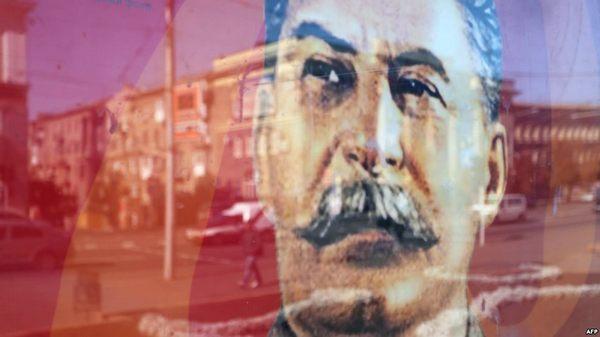 Фото:  Портрет Сталина в оккупированном Донецке, октябрь 2015 года