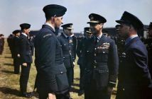HM King George VI visits No 617 Sqn RAF.jpg More details The visit of HM King George VI to No 617 Squadron (The Dambusters), Royal Air Force, Scampton, Lincolnshire, 27 May 1943 - The King has a word with Flight Lieutenant Les Munro from New Zealand. Wing Commander Guy Gibson is on the right and Air Vice Marshal Ralph Cochrane, Commander of No 5 Group is behind Flight Lieutenant Munro and to the right.