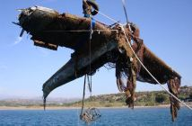 Junkers Ju 87 'Stuka' lifted from the sea around Leros.
