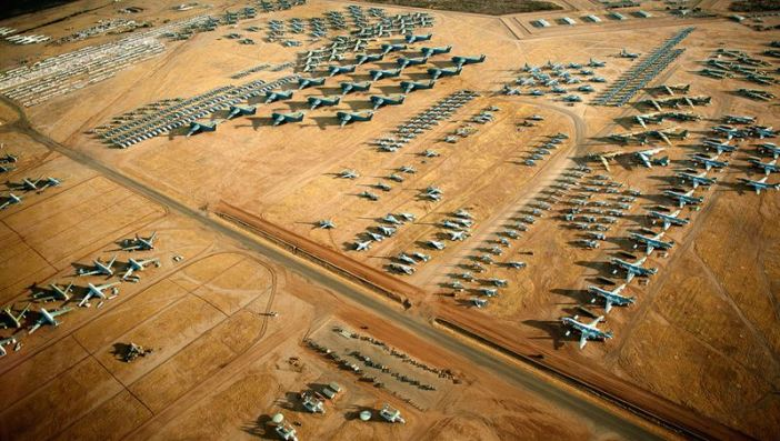 "Aircraft from all military services cover the desert landscape of the 309th Aerospace Maintenance and Regeneration Group ""Boneyard"" at Davis-Monthan Air Force Base, Ariz. (Credits: U.S. Air Force photo/Tech. Sgt. Bennie J. Davis III)"