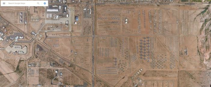 The Boneyard at Davis-Monthan Air Force Base seen on Google Maps (Retrieved February 12, 2016. Credits: Google Maps)