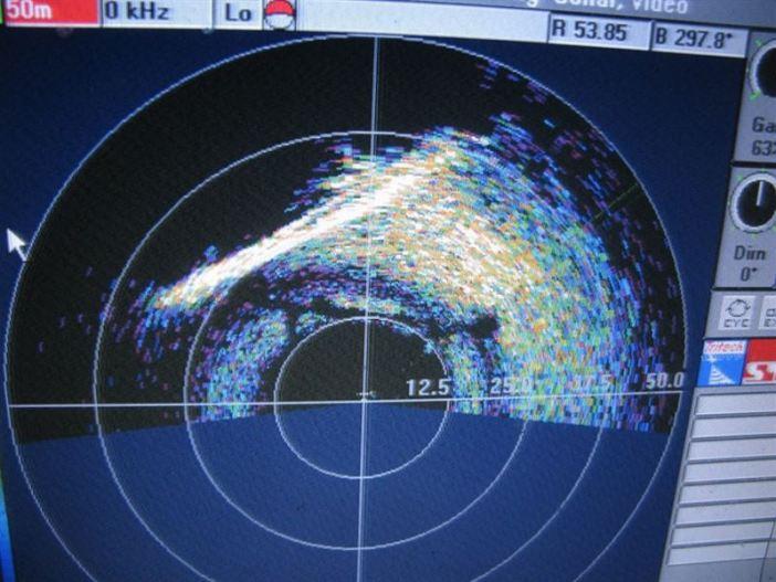 Sonar image of the U-133 wreck. (Credits: Kostas Katsaros)