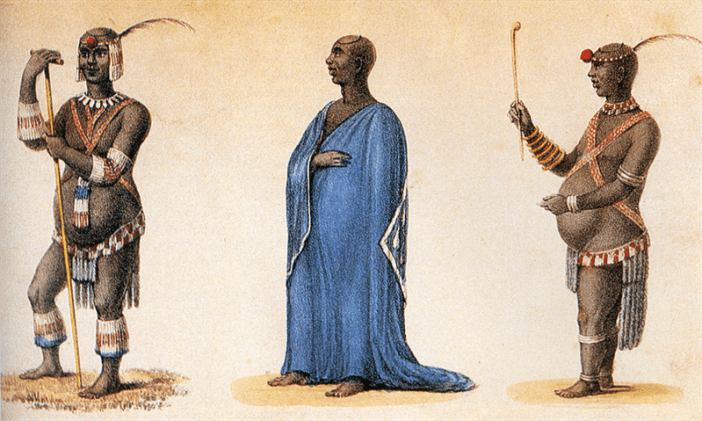 """""""Dingane kaSenzangakhona in Ordinary and Dancing Dresses"""", by Captain Allen Francis Gardiner."""