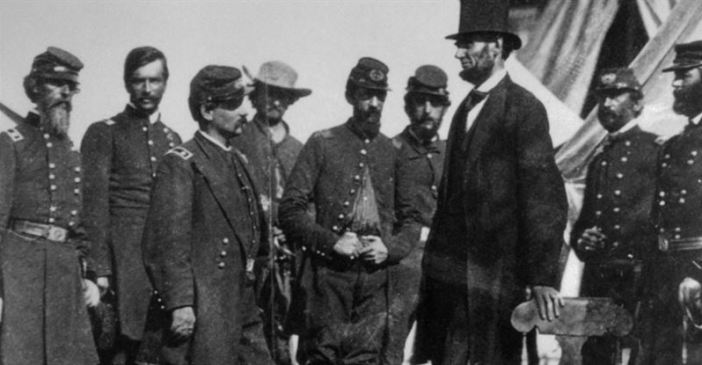 President Abraham Lincoln with General George McClellan