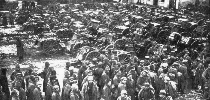 Russian prisoners and guns captured at Tannenberg