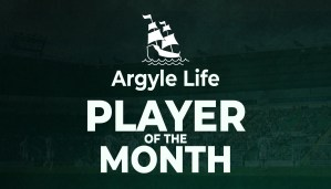 Argyle Life: Player of the Month graphic. White bold text on a dark green tinted image of Home Park.