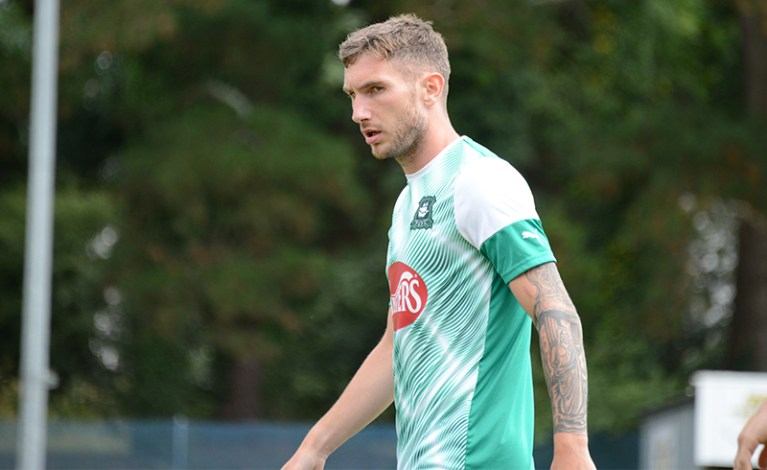 Danny Mayor in the 2019/20 Plymouth Argyle away kit.
