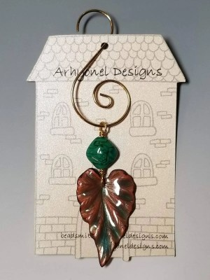Copper Enameled Leaf Ornament