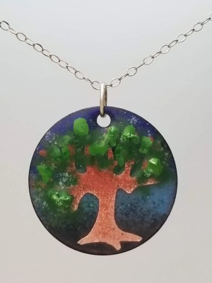 Copper Enamel Tree Pendant