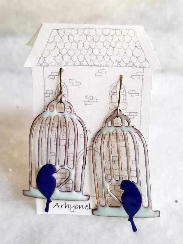 Bluebird on a Birdcage Enameled Earrings