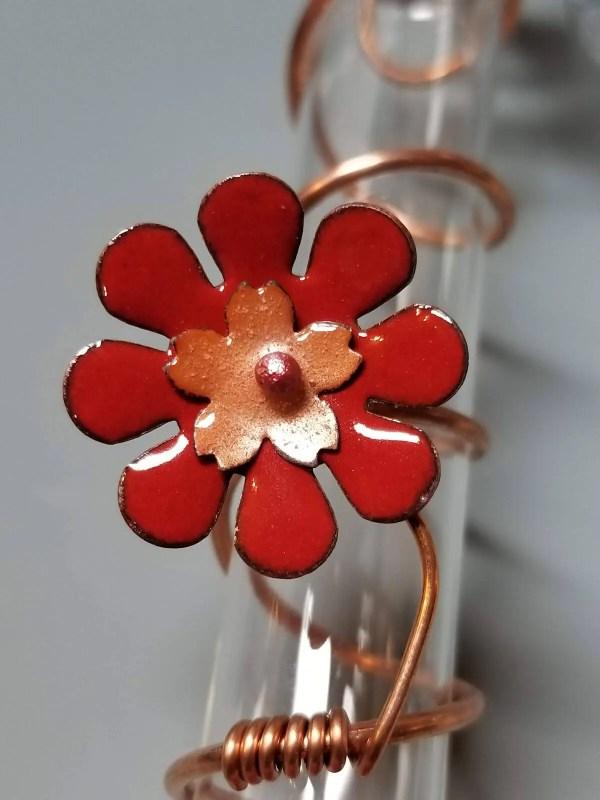 Copper & Enamel Hummingbird Feeder Flower