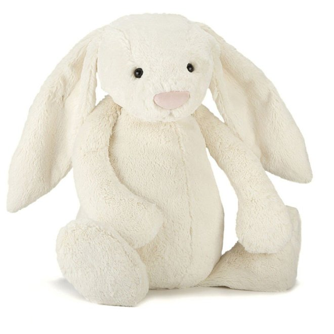 A jellycat bashful bunny, cream colored, size: really big.  it is approximately 4 feet tall.