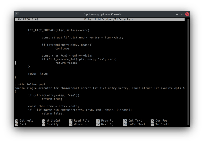 A screenshot of Pico showing some code, in its default configuation. The help options and titlebar are present.