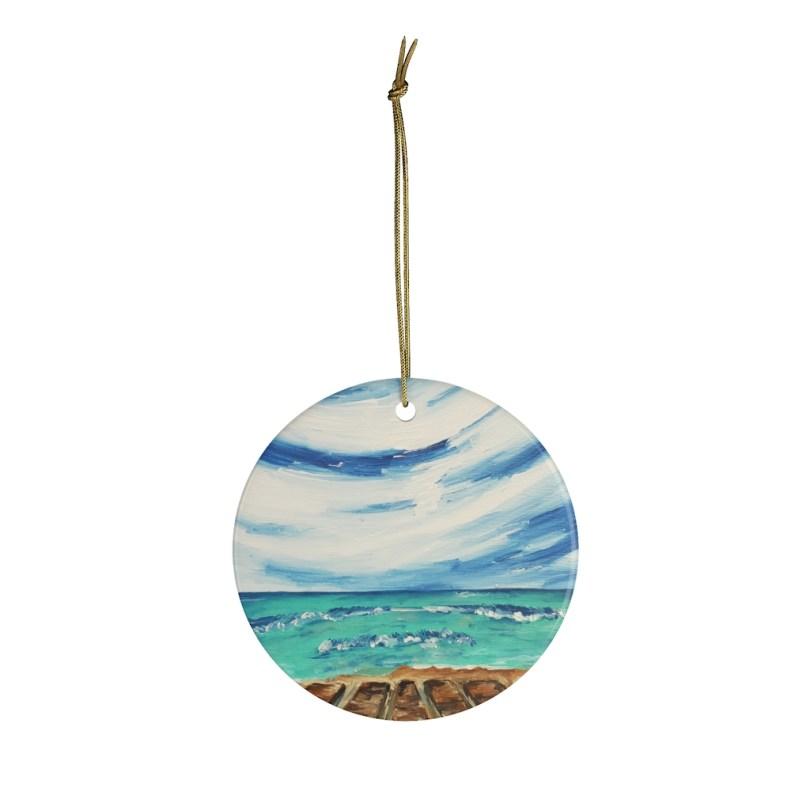 """Coronado Beach Boardwalk"" Ceramic Ornament"
