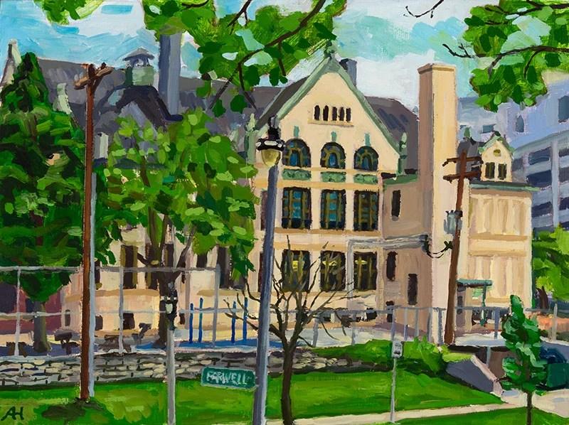 "Maryland Avenue School, oil on wood, 6"" x 8"", 2015"