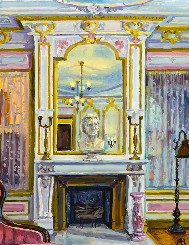 "McIntosh Goodrich Mansion Ladies' Salon, oil on wood, 9"" x 7"", 2016"