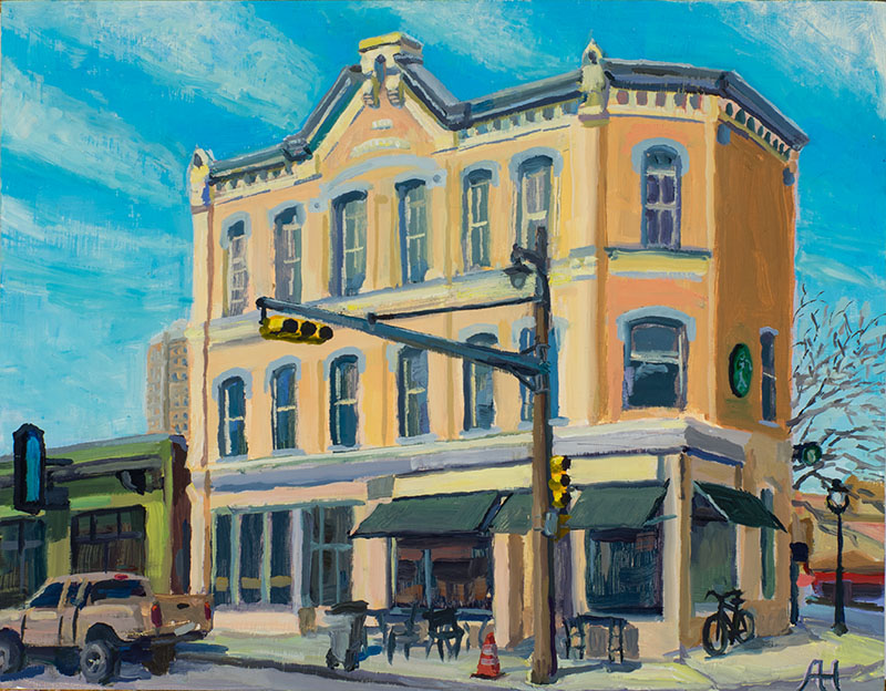 "J. Kunitzky Building, oil on wood, 7"" x 9"", 2017"