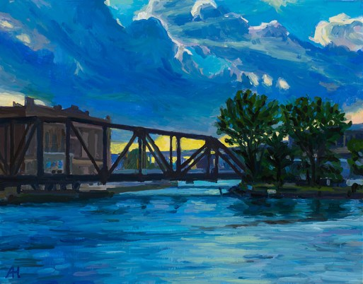 "Swing Bridge, Evening, oil on wood, 7"" x 9"", 2017"