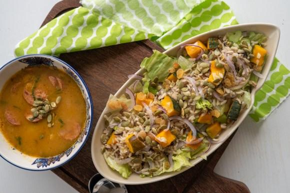 salada de abobora com arroz integral