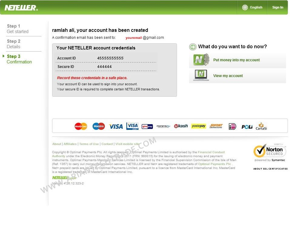 NETELLER ACCOUNT CREDENTIALS