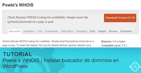 Powie´s WHOIS | Instalar buscador de dominios en WordPress