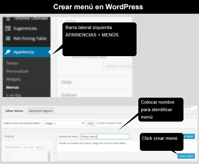 Crear menú en WordPress