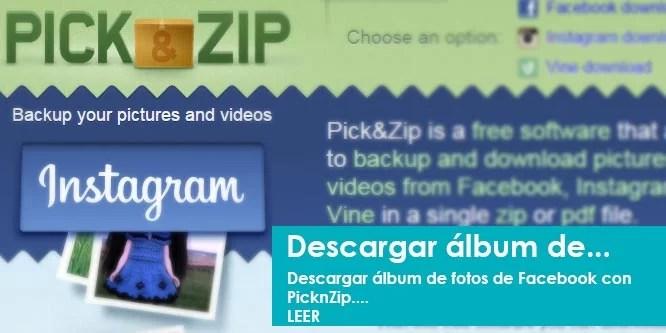 Descargar álbum de fotos de Facebook con PicknZip