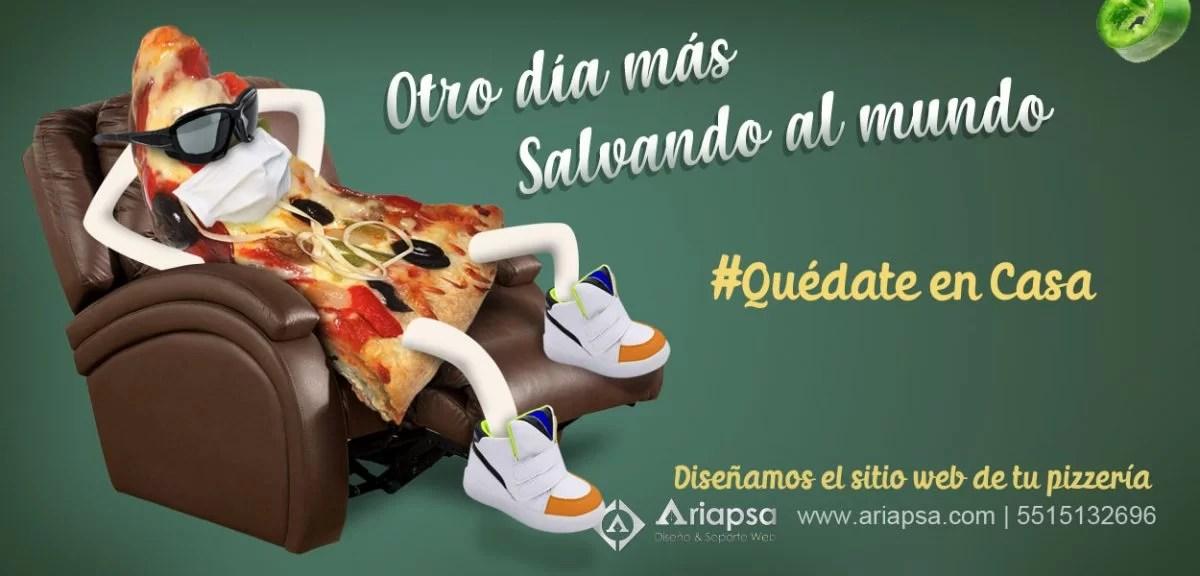 Ariapsa slider pizza sentada Diseño web pizzerías México