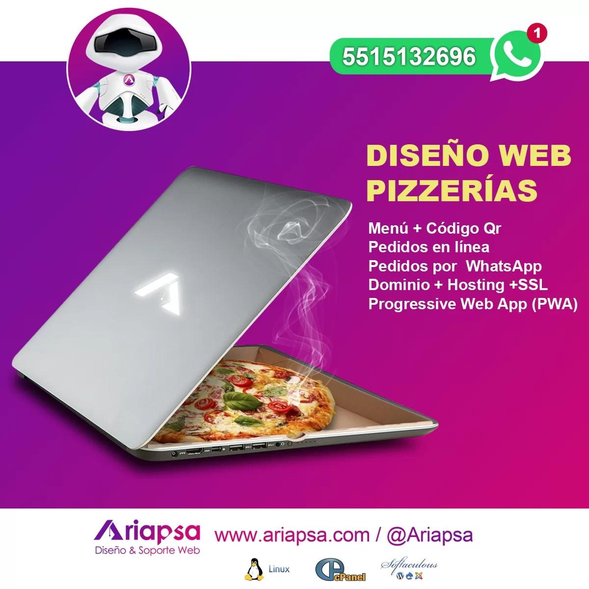 Diseño web pizzerias Ariapsa México 2