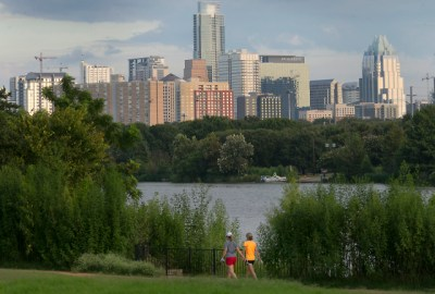 The Austin skyline as seen looking northwest from the Lakeshore area showing the Roy and Ann Butler Hike and Bike Trail on Lady Bird Lake August 31, 2016. RALPH BARRERA/AMERICAN-STATESMAN
