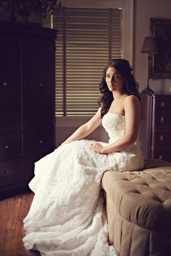 Lubbock Bridal Pictures: Bride sitting on Chaise