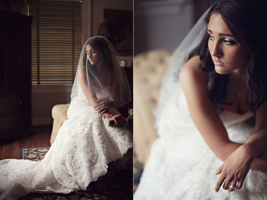 beautiful bride with blusher, antique home, window light, aric and casey photography