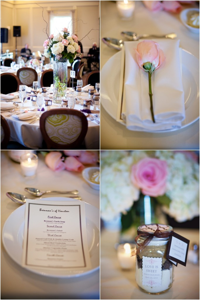 pink and champagne wedding details at Brennan's in Houston