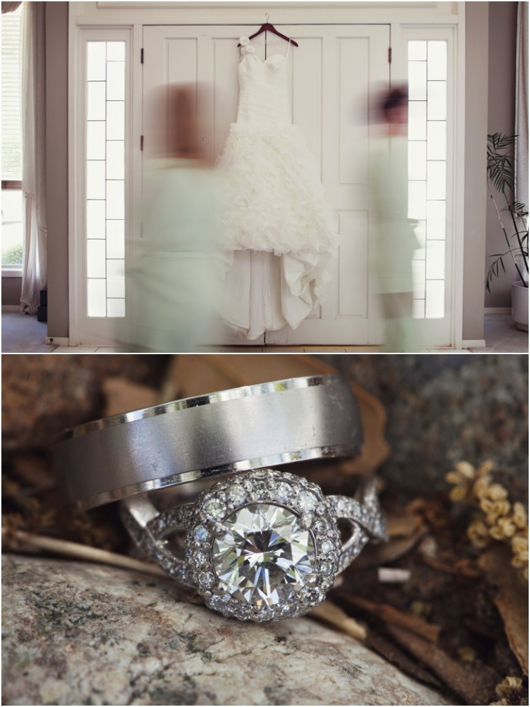 Wedding dress and wedding rings